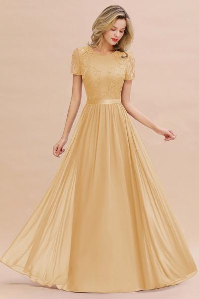 BM0831 Chiffon Lace Scoop Short Sleeve Bridesmaid Dress_13
