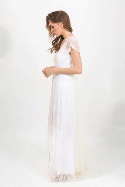 Front Slit V-neck Short Sleeve Lace Wedding Dress_5