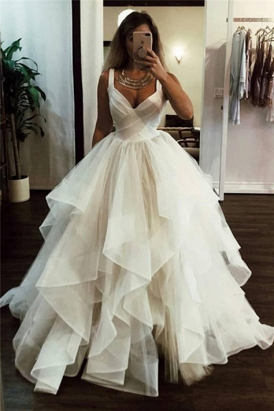 Lace Straps Tulle Ball Gowns|Chic Formal Dresses_1