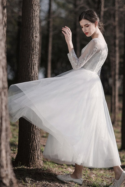 Long Sleeve Sequins Tulle A-line Wedding Dress_6