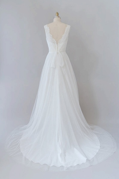 Ruffle V-neck Lace Tulle A-line Wedding Dress_3