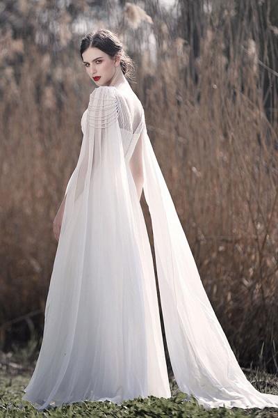 Eye-catching Beading Chiffon A-line Wedding Dress_6