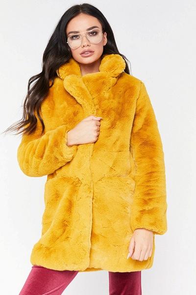 Winter Daily Regular Stand Long Faux Fur Coats_11