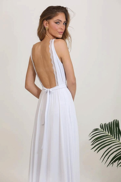 Open Back V-neck Lace Chiffon A-line Wedding Dress_10