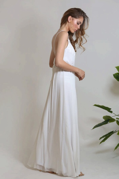 Front Slit Appliques Chiffon A-line Wedding Dress_6