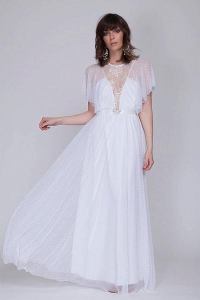 Polka Dot Short Sleeve Lace Tulle Wedding Dress_1