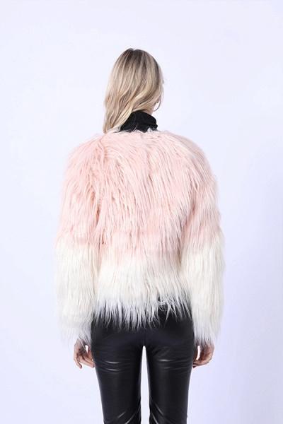 Ombre Party Fashion Winter Regular Faux Fur Coats_4