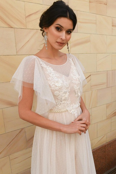Polka Dot Appliques Tulle A-line Wedding Dress_4