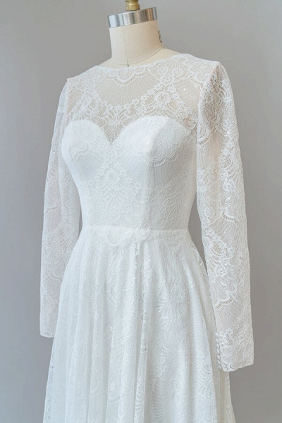 Illusion Long Sleeve Lace A-line Wedding Dress_7