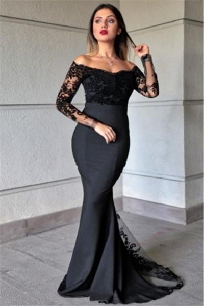 Lace Mermaid Bateau Evening Dresses|Elegant Long Sleeves Gowns_1