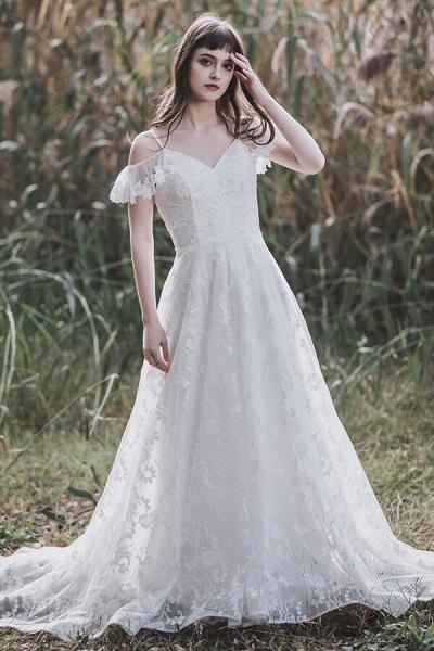 Cold-shoulder Lace Tulle A-line Wedding Dress_1