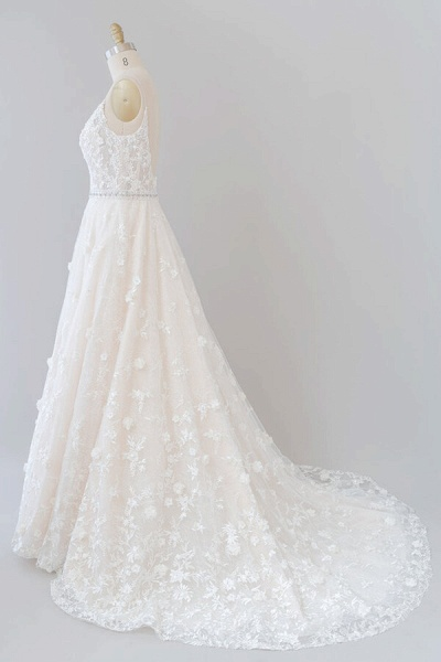 Awesome Appliques A-line Tulle Wedding Dress_5