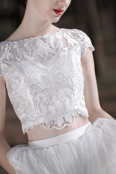 Latest Short Sleeve A-line Tulle Wedding Dress_9