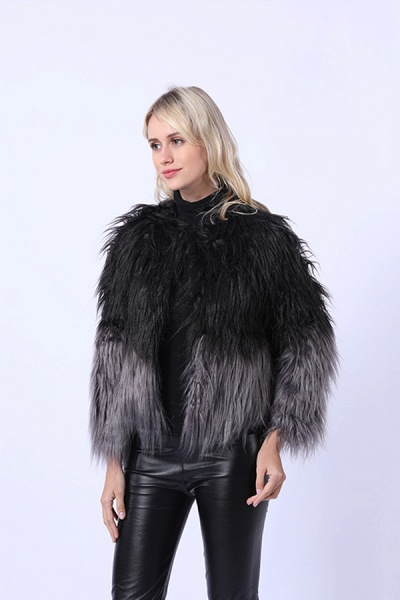 Ombre Party Fashion Winter Regular Faux Fur Coats_10