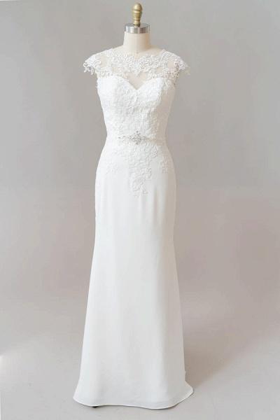 Cap Sleeve Illusion Lace Sheath Wedding Dress_1