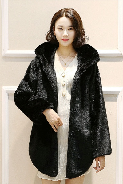 Hooded Daily Basic Club Faux Fur Coat_2
