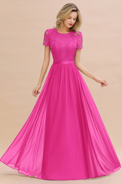 BM0831 Chiffon Lace Scoop Short Sleeve Bridesmaid Dress_9