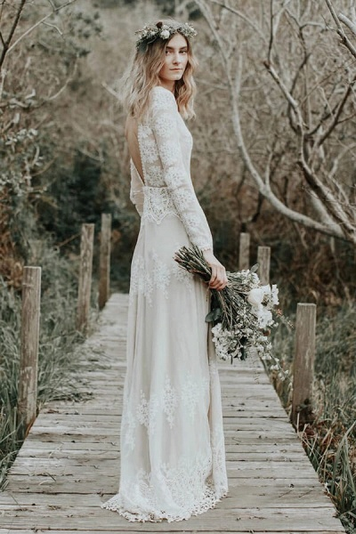 Open Back Long Sleeve Lace Sheath Wedding Dress_2