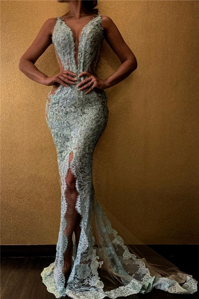 Amazing Mermaid V-neck Lace Evening Gowns_1