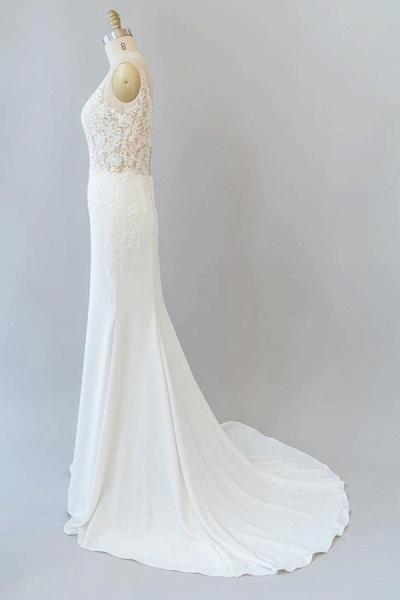 Elegant Lace Floor Length Mermaid Wedding Dress_5