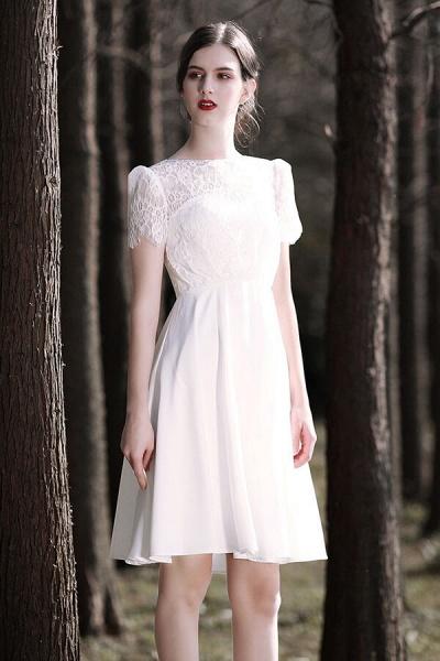Short Sleeve Lace A-line Short Wedding Dress_1