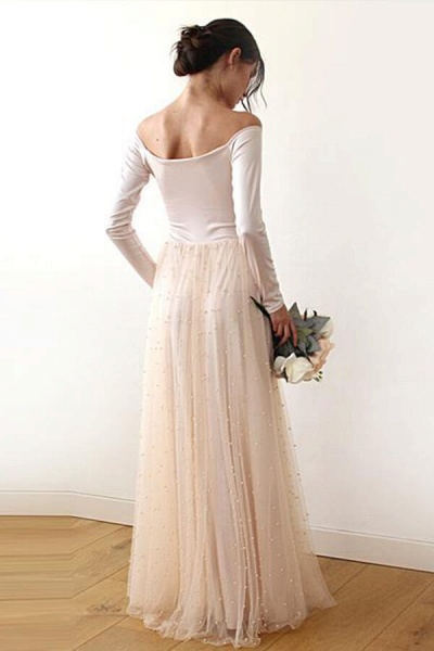Long Sleeve Off The Shoulder Tulle Wedding Dress_3