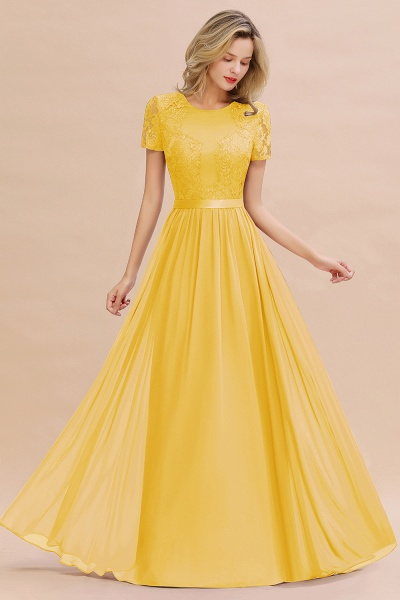 BM0831 Chiffon Lace Scoop Short Sleeve Bridesmaid Dress_17