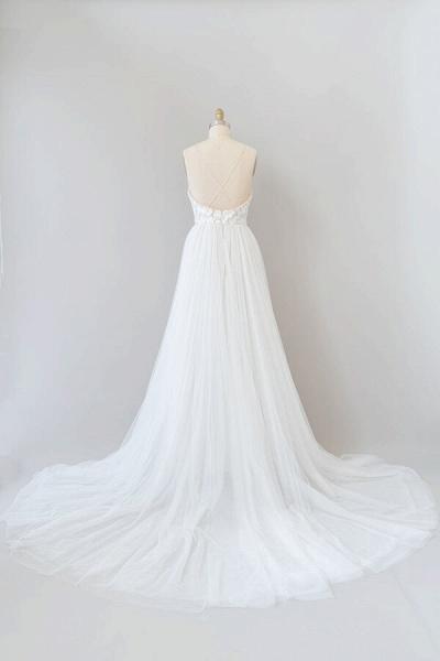 Amazing Chapel Train Appliques Tulle Wedding Dress_3