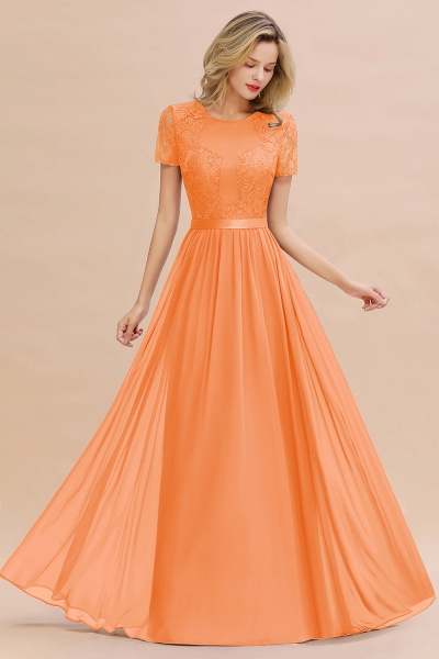 BM0831 Chiffon Lace Scoop Short Sleeve Bridesmaid Dress_15