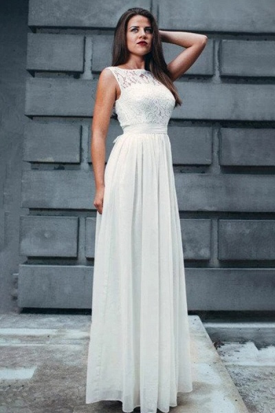 Elegant Lace Chiffon Floor Length Wedding Dress_1