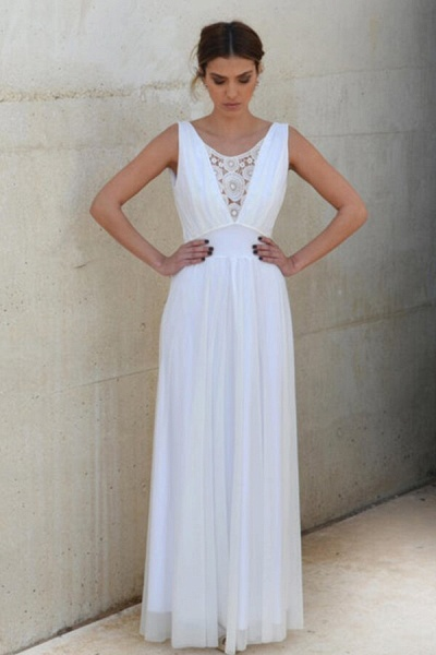 Graceful Empire Waist Tulle Sheath Wedding Dress_4