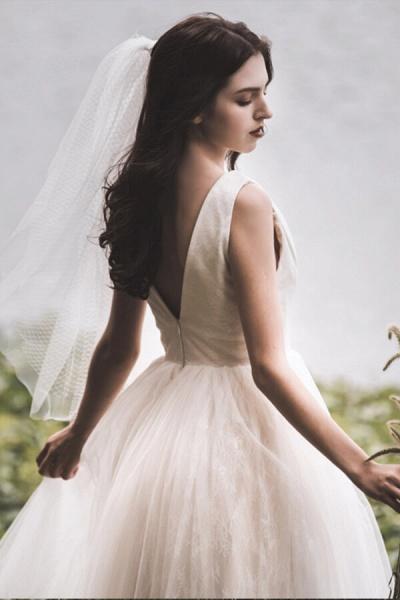 Graceful V-neck Lace Tulle A-line Wedding Dress_7