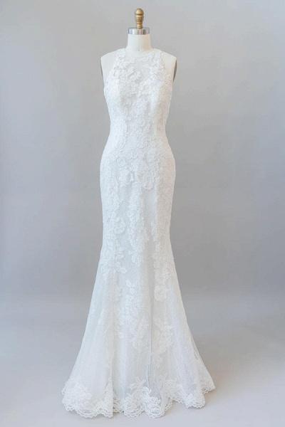 Awesome Illusion Lace Mermaid Wedding Dress_1