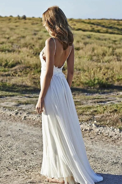 Spaghetti Strap Appliques Chiffon Wedding Dress_3