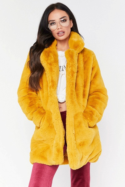Winter Daily Regular Stand Long Faux Fur Coats_13