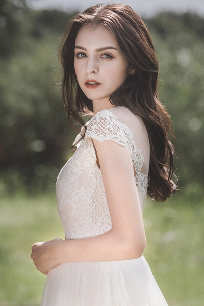 Awesome Cap Sleeve Lace Tulle A-line Wedding Dress_7