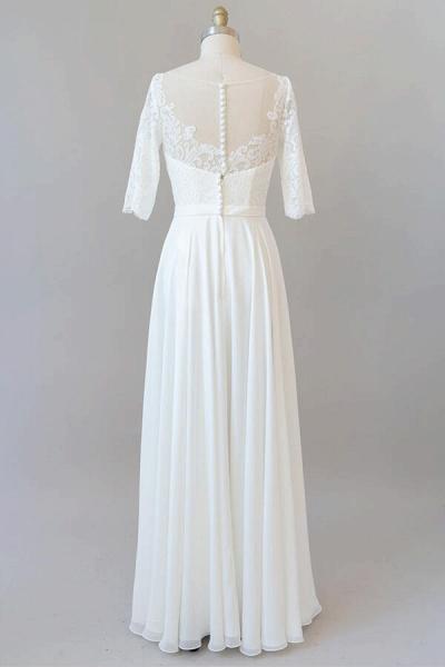 Graceful Lace Chiffon Floor Length Wedding Dress_3