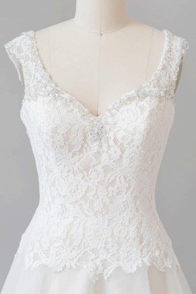 Elegant Open Back Lace Tulle A-line Wedding Dress_6