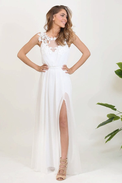 Front Slit Appliques Chiffon A-line Wedding Dress_3