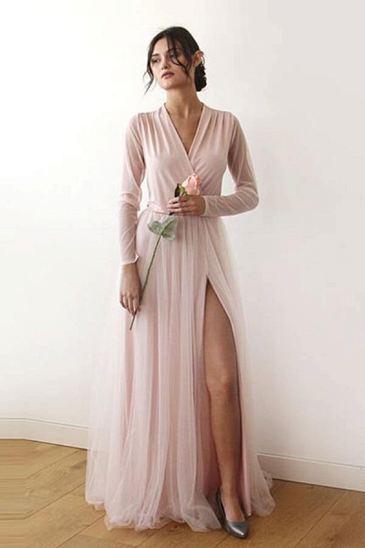 Front Slit Long Sleeve V-neck Tulle Wedding Dress_1