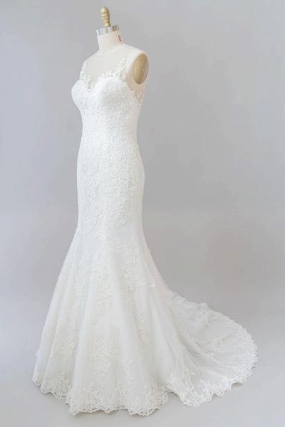 Graceful Illusion Appliques Mermaid Wedding Dress_4
