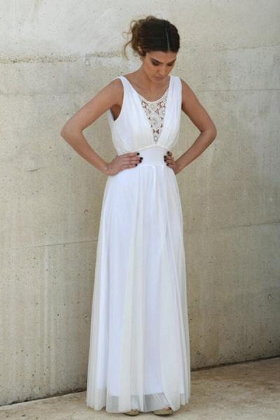 Graceful Empire Waist Tulle Sheath Wedding Dress_3