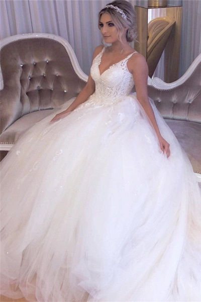 A-line Lace Tulle Ball Gown Wedding Dresses|Gorgeous Bridal Gowns_4