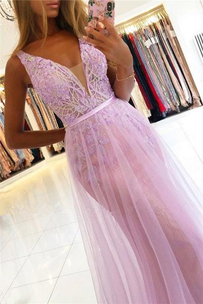Straps A-line Lace V-neck Evening Dresses_3