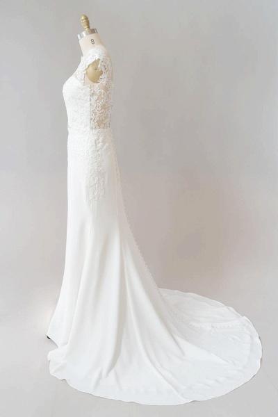 Cap Sleeve Illusion Lace Sheath Wedding Dress_5