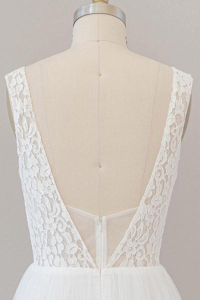 Open Back V-neck Lace Tulle A-line Wedding Dress_8