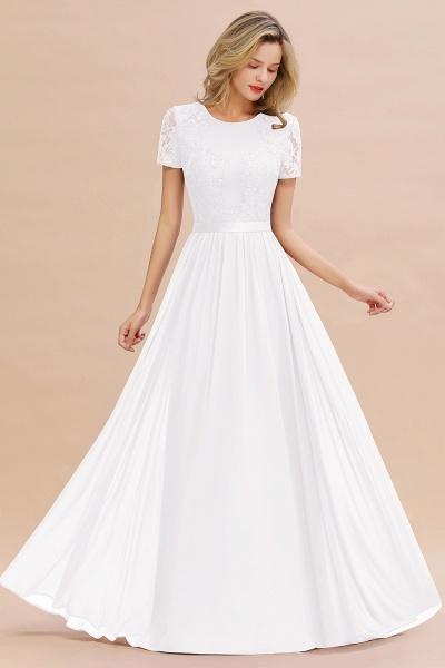 BM0831 Chiffon Lace Scoop Short Sleeve Bridesmaid Dress_1