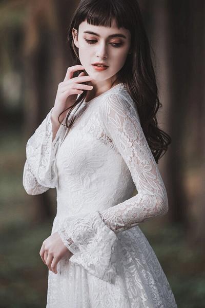 Illusion Long Sleeve Lace A-line Wedding Dress_13