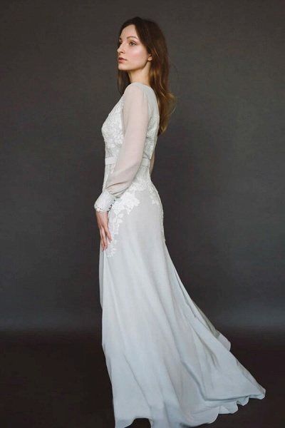 V-neck Long Sleeve Appliques Chiffon Wedding Dress_3