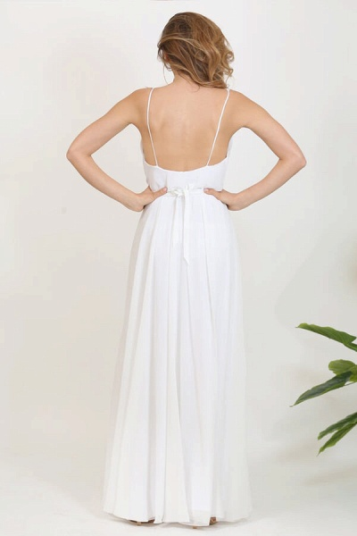 Front Slit Appliques Chiffon A-line Wedding Dress_4